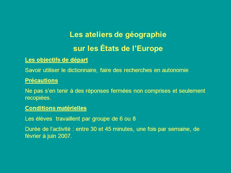 Les ateliers de géographie sur les États de l'Europe