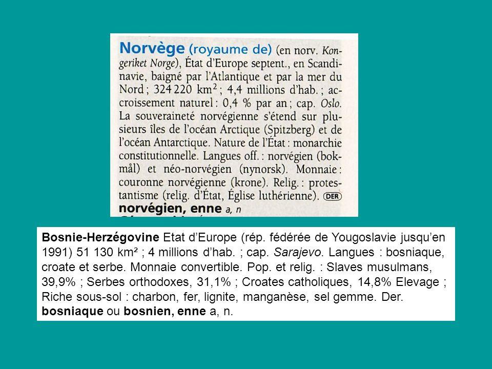Bosnie-Herzégovine Etat d'Europe (rép