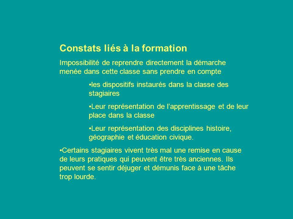 Constats liés à la formation