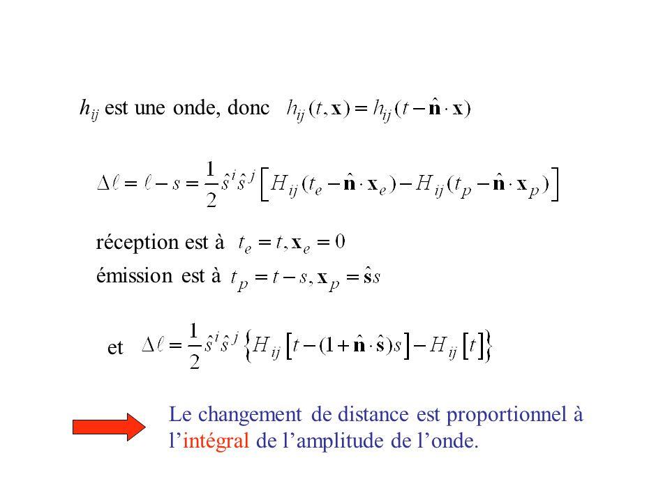 hij est une onde, donc réception est à. émission est à. et. Le changement de distance est proportionnel à.