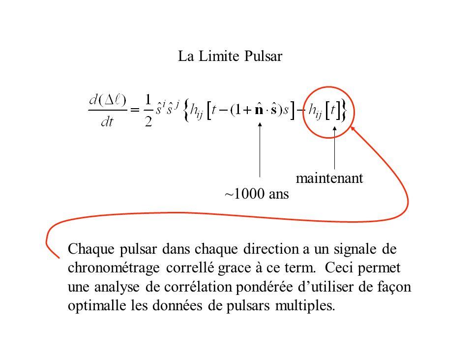La Limite Pulsar Chaque pulsar dans chaque direction a un signale de. chronométrage correllé grace à ce term. Ceci permet.