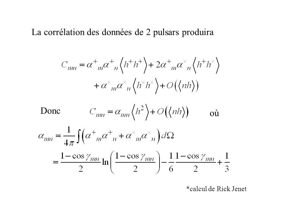 La corrélation des données de 2 pulsars produira