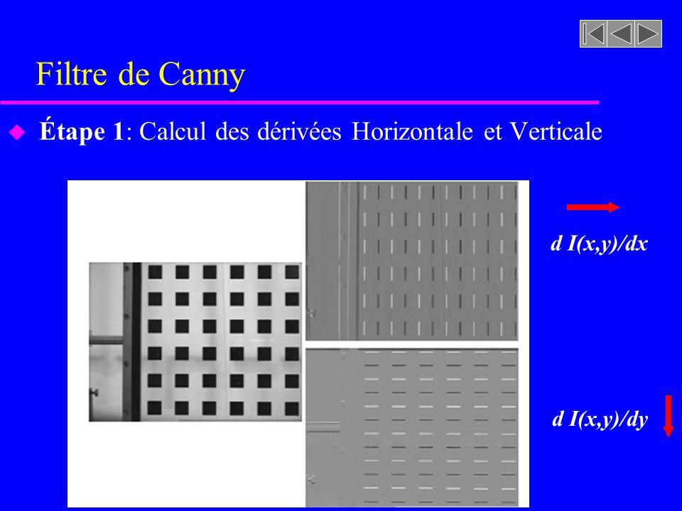 Filtre de Canny Étape 1: Calcul des dérivées Horizontale et Verticale