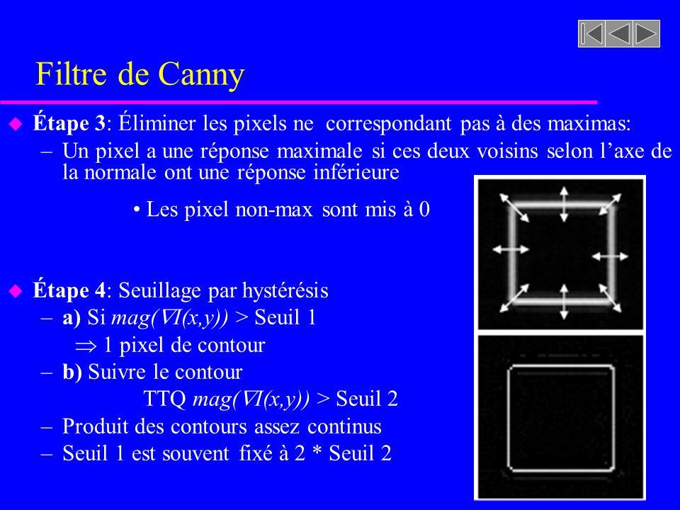 Filtre de Canny Étape 3: Éliminer les pixels ne correspondant pas à des maximas: