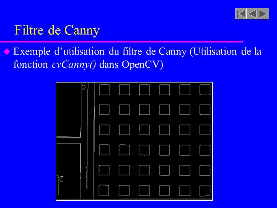 Filtre de Canny Exemple d'utilisation du filtre de Canny (Utilisation de la fonction cvCanny() dans OpenCV)
