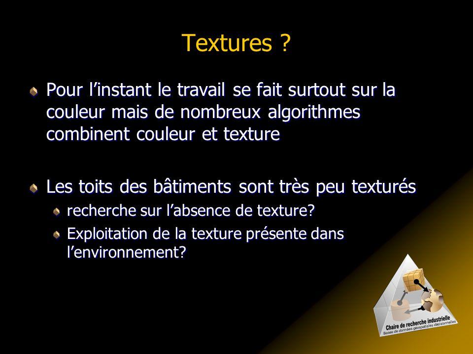 Textures Pour l'instant le travail se fait surtout sur la couleur mais de nombreux algorithmes combinent couleur et texture.