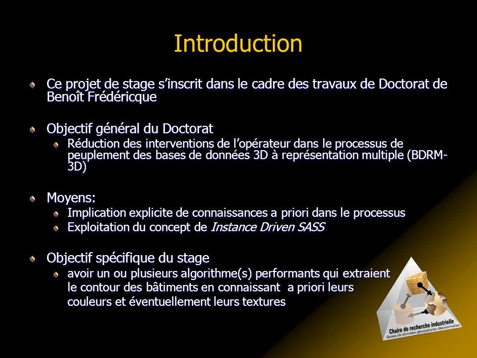 Introduction Ce projet de stage s'inscrit dans le cadre des travaux de Doctorat de Benoît Frédéricque.