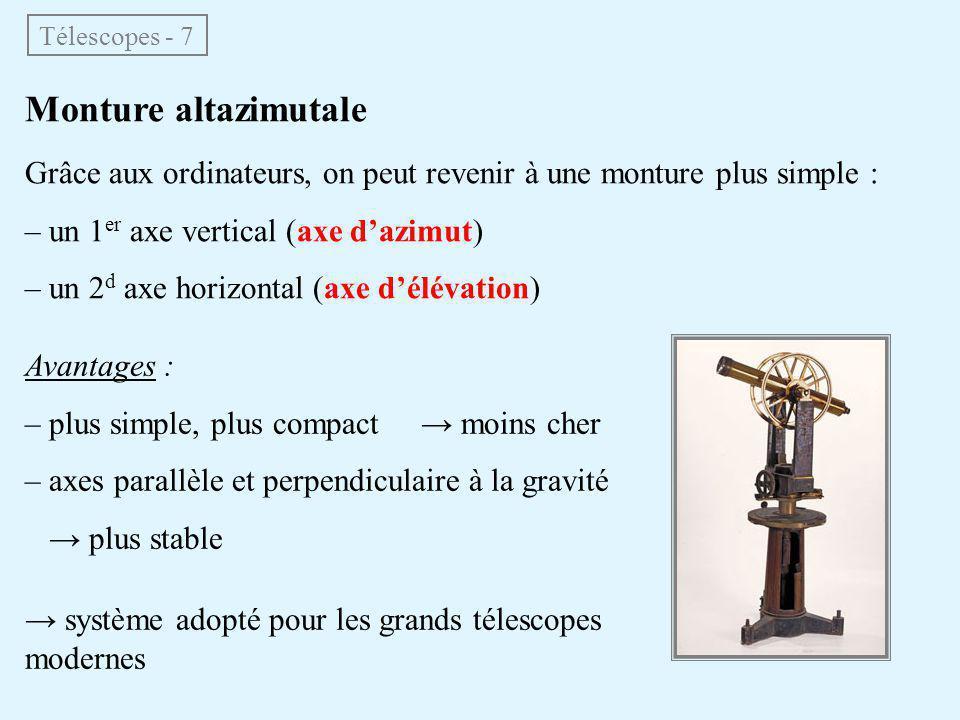 Télescopes - 7 Monture altazimutale. Grâce aux ordinateurs, on peut revenir à une monture plus simple :