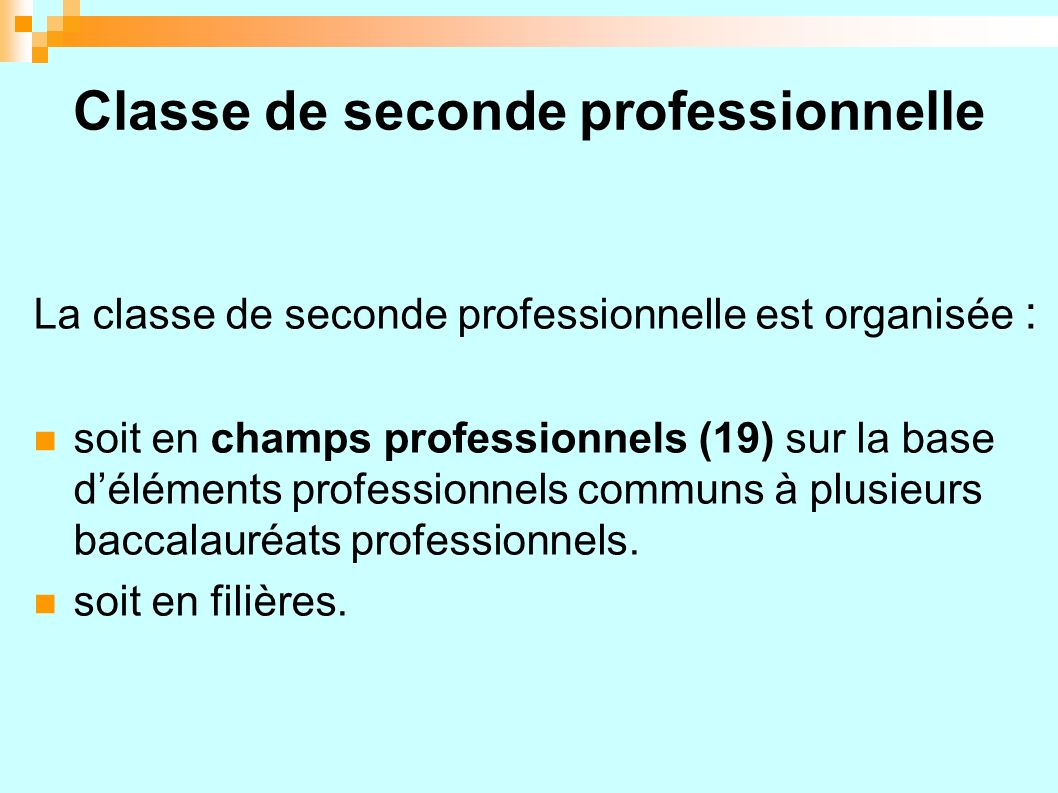 Classe de seconde professionnelle