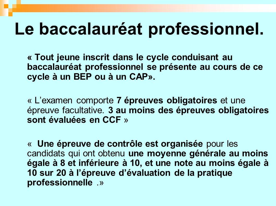 Le baccalauréat professionnel.