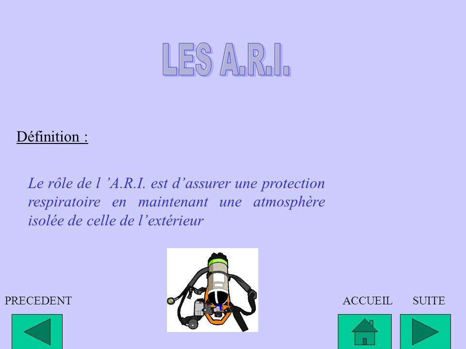 LES A.R.I.Définition : Le rôle de l 'A.R.I. est d'assurer une protection respiratoire en maintenant une atmosphère isolée de celle de l'extérieur.