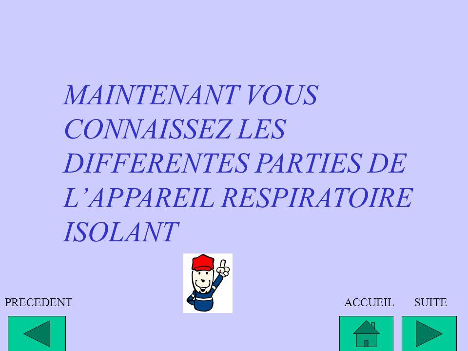 MAINTENANT VOUS CONNAISSEZ LES DIFFERENTES PARTIES DE L'APPAREIL RESPIRATOIRE ISOLANT