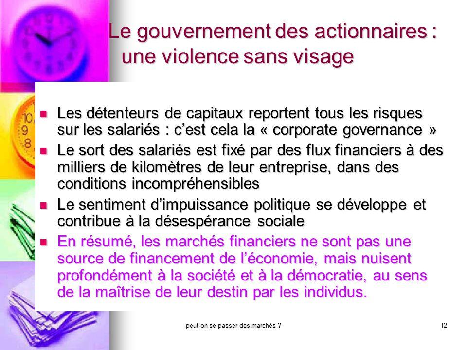 Le gouvernement des actionnaires : une violence sans visage