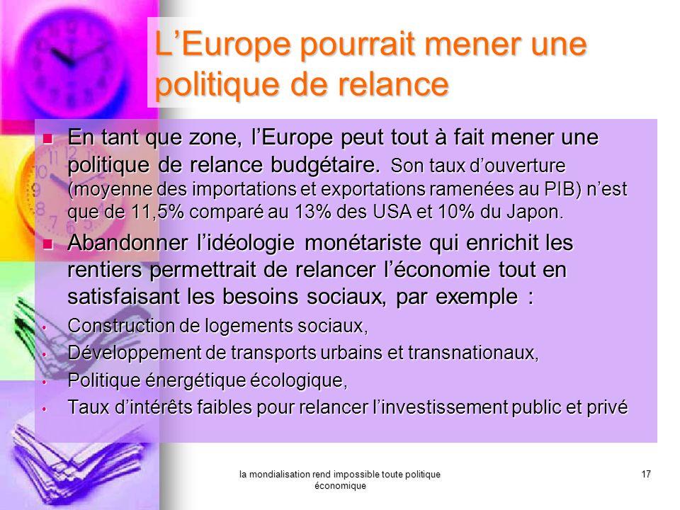 L'Europe pourrait mener une politique de relance