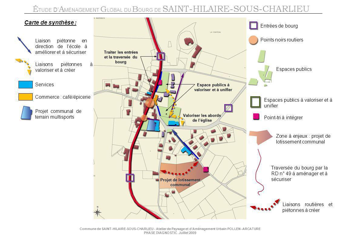 Carte de synthèse : Entrées de bourg Points noirs routiers