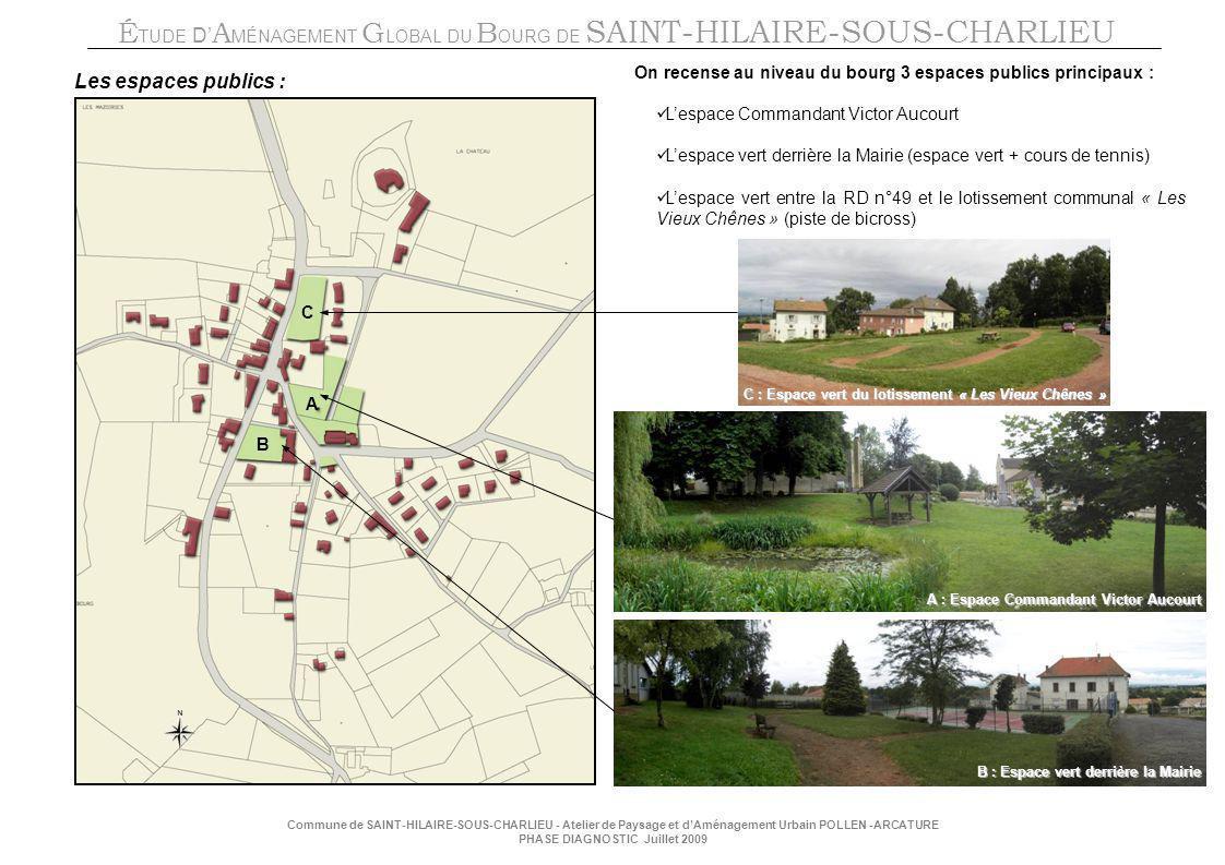 On recense au niveau du bourg 3 espaces publics principaux :