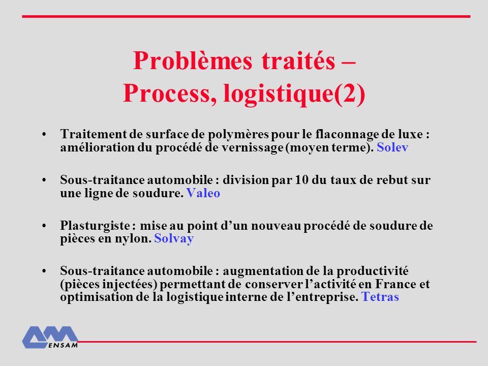 Problèmes traités – Process, logistique(2)