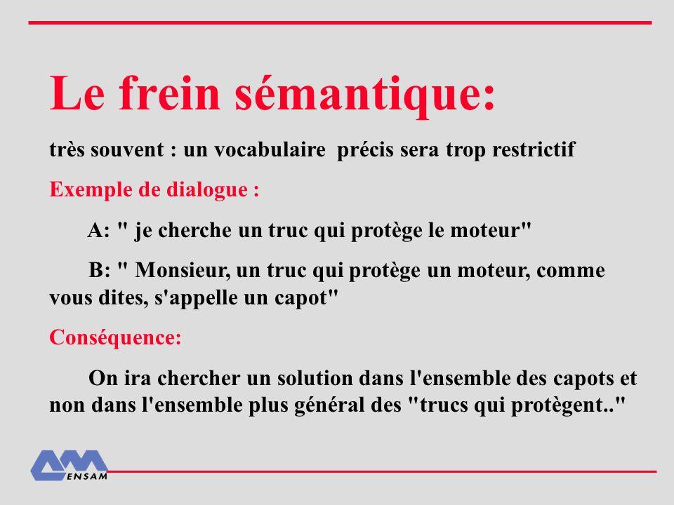 Le frein sémantique: très souvent : un vocabulaire précis sera trop restrictif. Exemple de dialogue :