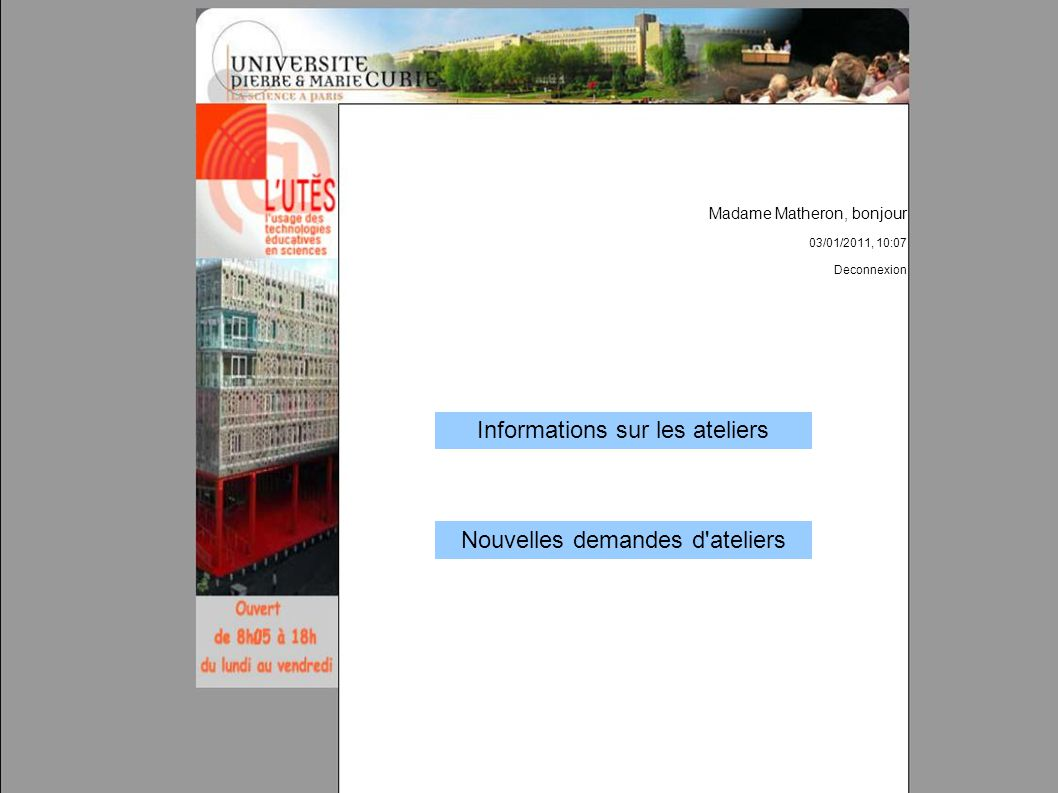 Informations sur les ateliers