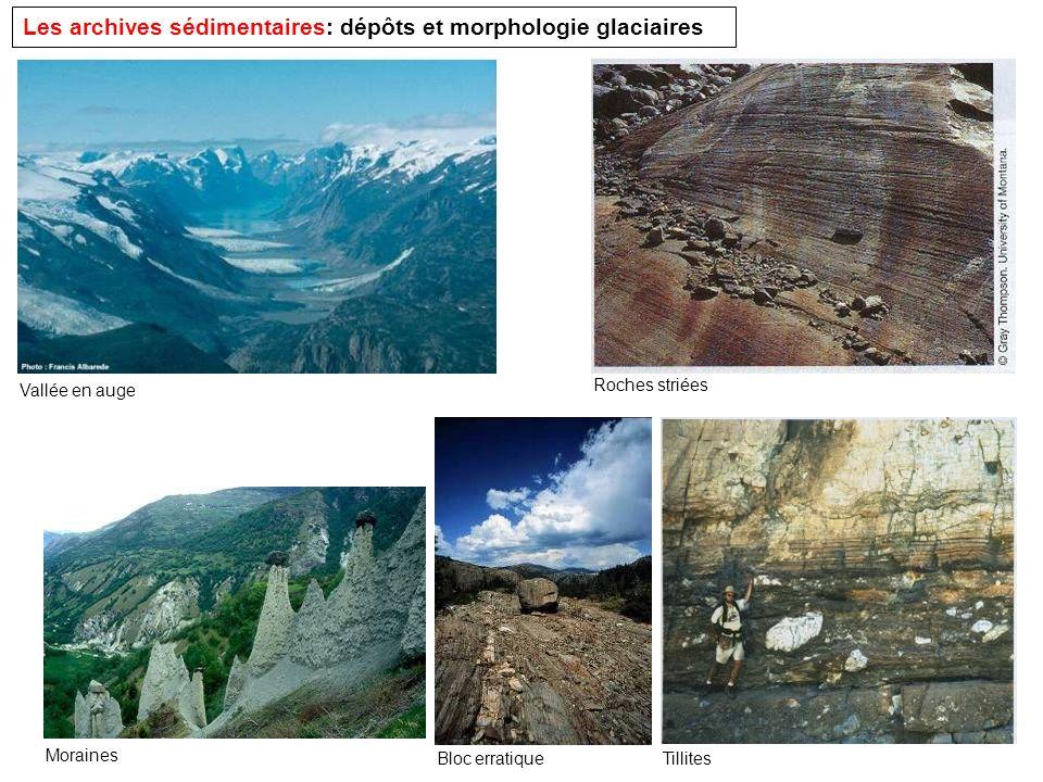 Les archives sédimentaires: dépôts et morphologie glaciaires