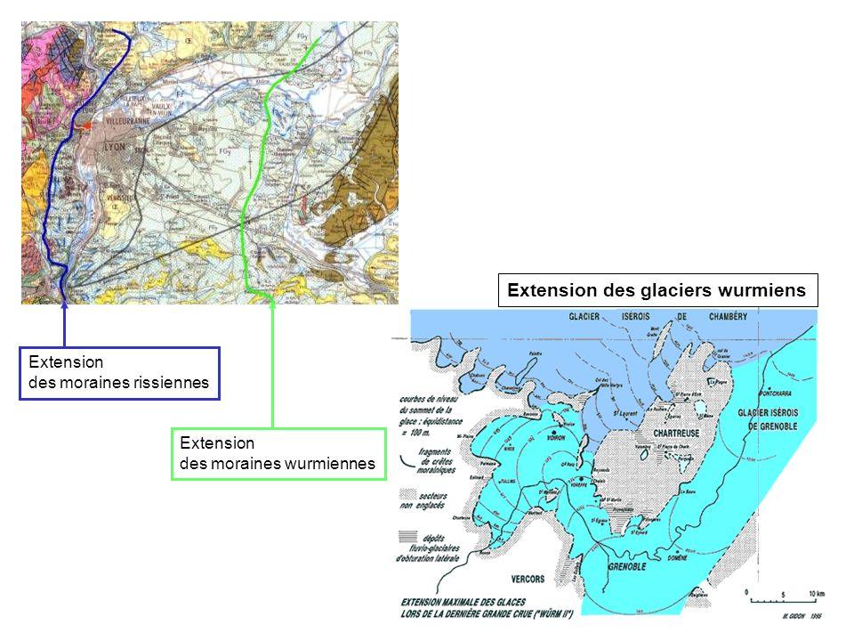 Extension des glaciers wurmiens