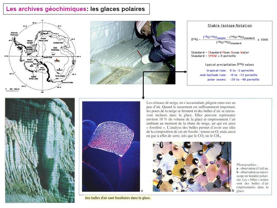 Les archives géochimiques: les glaces polaires
