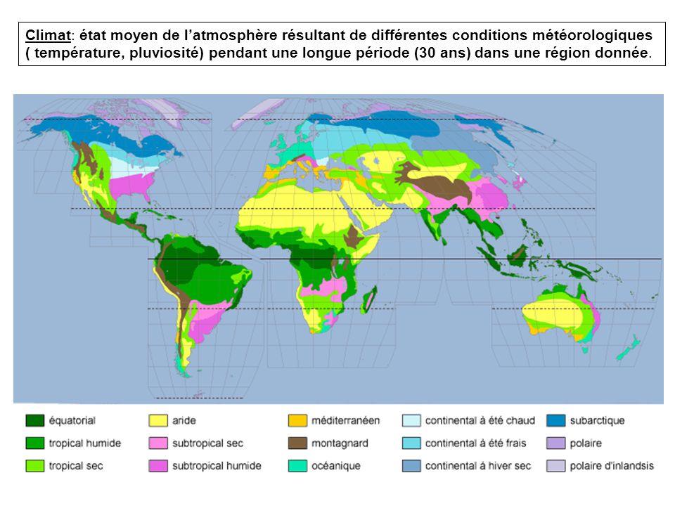 Climat: état moyen de l'atmosphère résultant de différentes conditions météorologiques