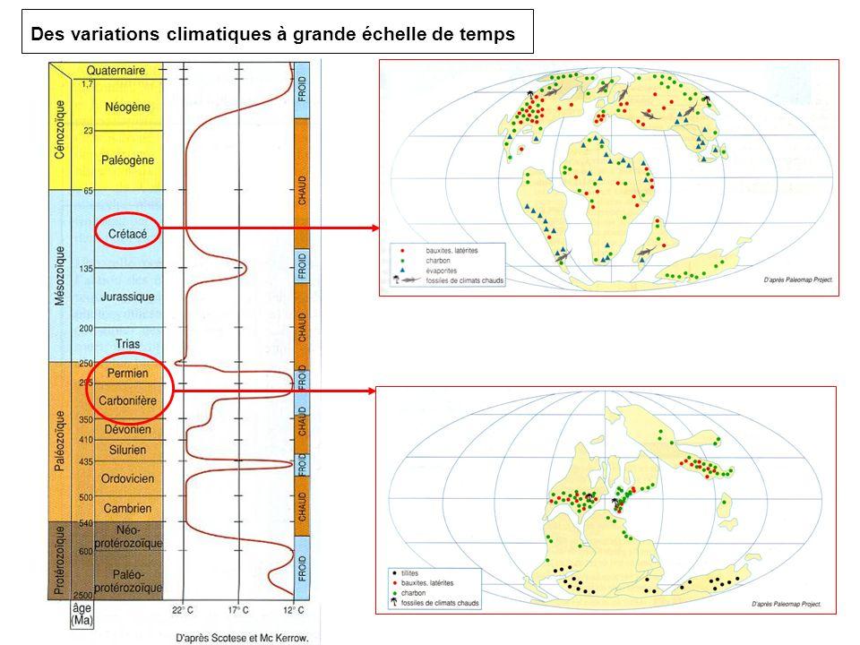 Des variations climatiques à grande échelle de temps
