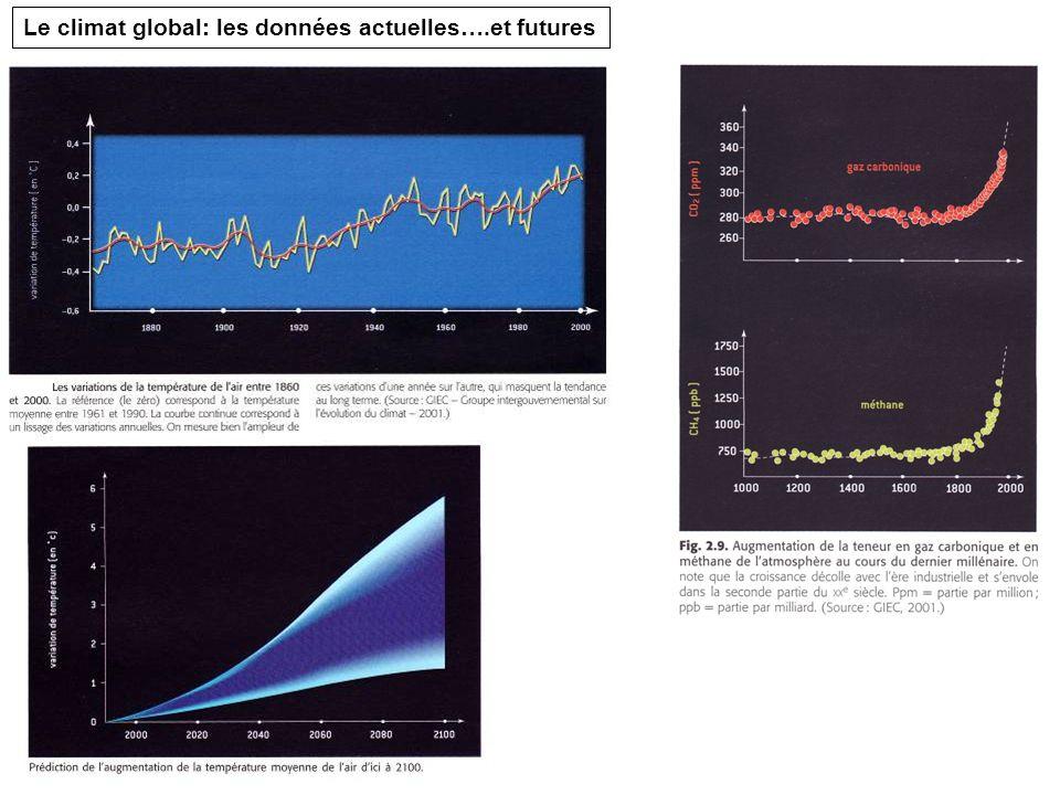 Le climat global: les données actuelles….et futures