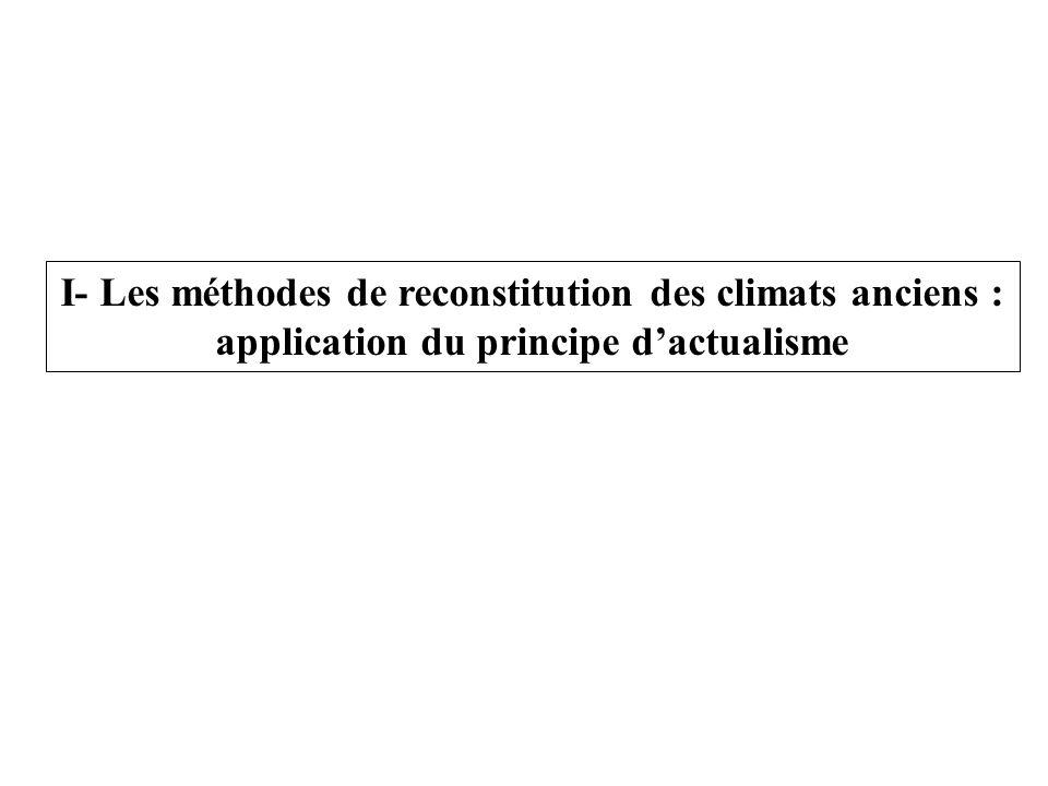 I- Les méthodes de reconstitution des climats anciens : application du principe d'actualisme