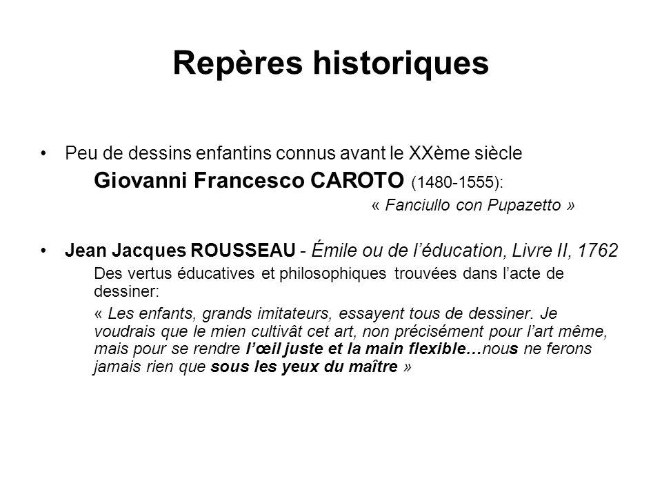 Repères historiques Peu de dessins enfantins connus avant le XXème siècle. Giovanni Francesco CAROTO (1480-1555):