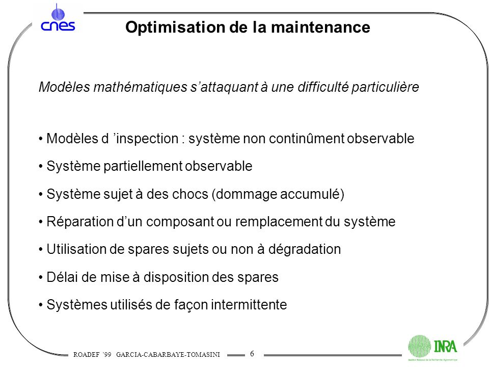 Optimisation de la maintenance