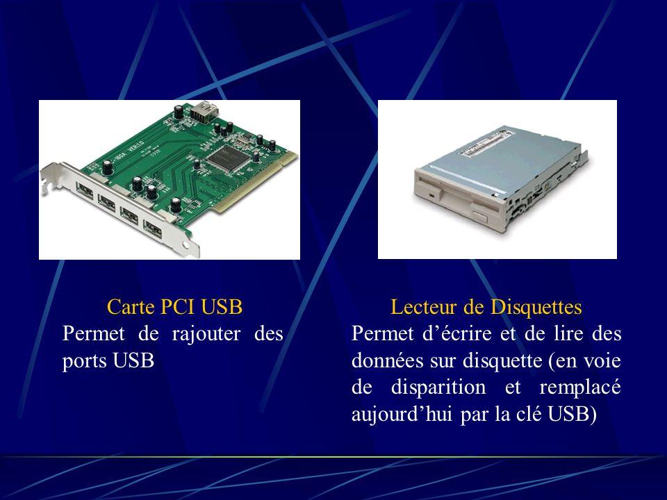 Carte PCI USB Permet de rajouter des ports USB. Lecteur de Disquettes.