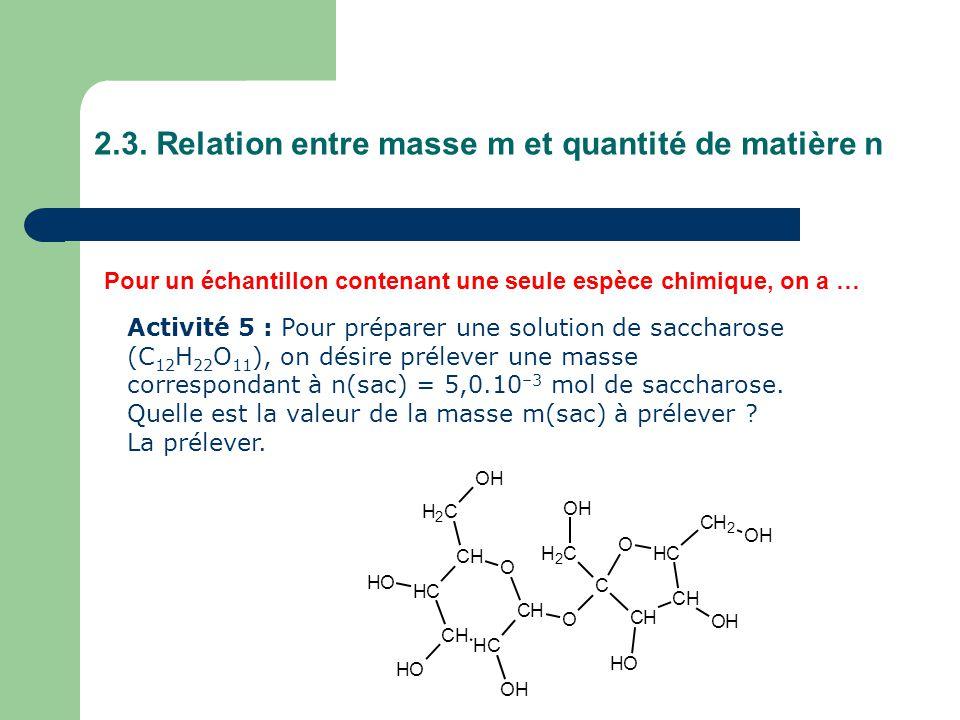 2.3. Relation entre masse m et quantité de matière n