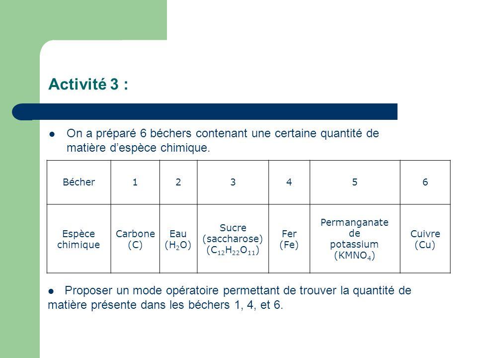 Activité 3 : On a préparé 6 béchers contenant une certaine quantité de matière d'espèce chimique. Bécher.