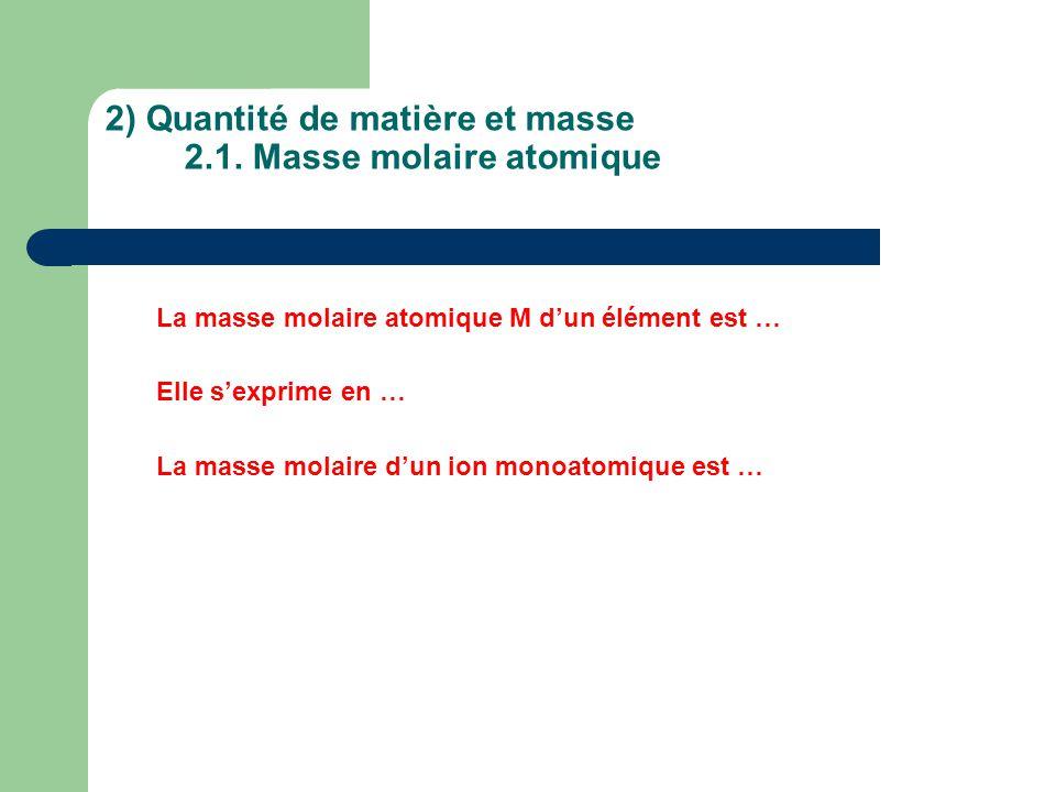 2) Quantité de matière et masse 2.1. Masse molaire atomique