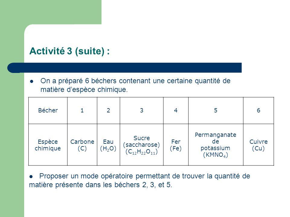 Activité 3 (suite) : On a préparé 6 béchers contenant une certaine quantité de matière d'espèce chimique.