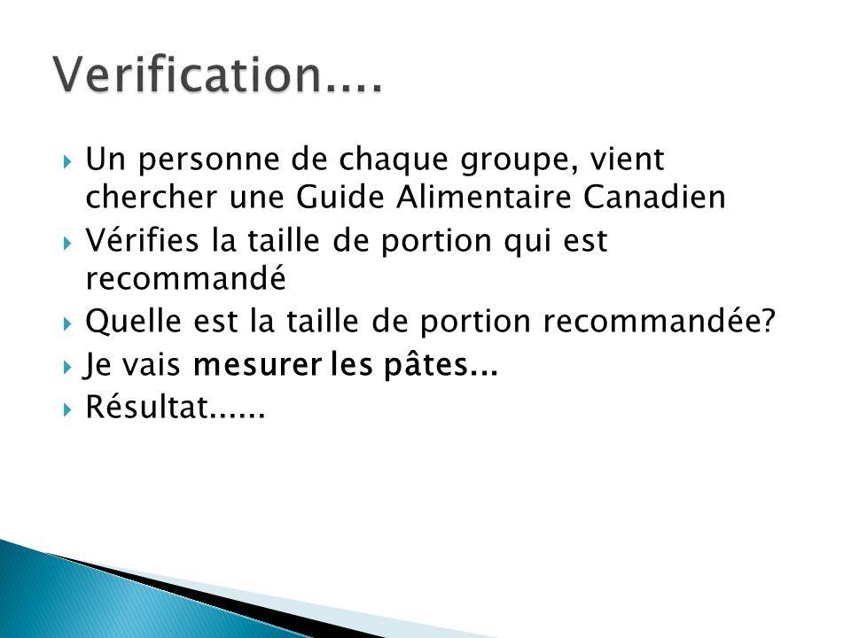 Verification.... Un personne de chaque groupe, vient chercher une Guide Alimentaire Canadien. Vérifies la taille de portion qui est recommandé.