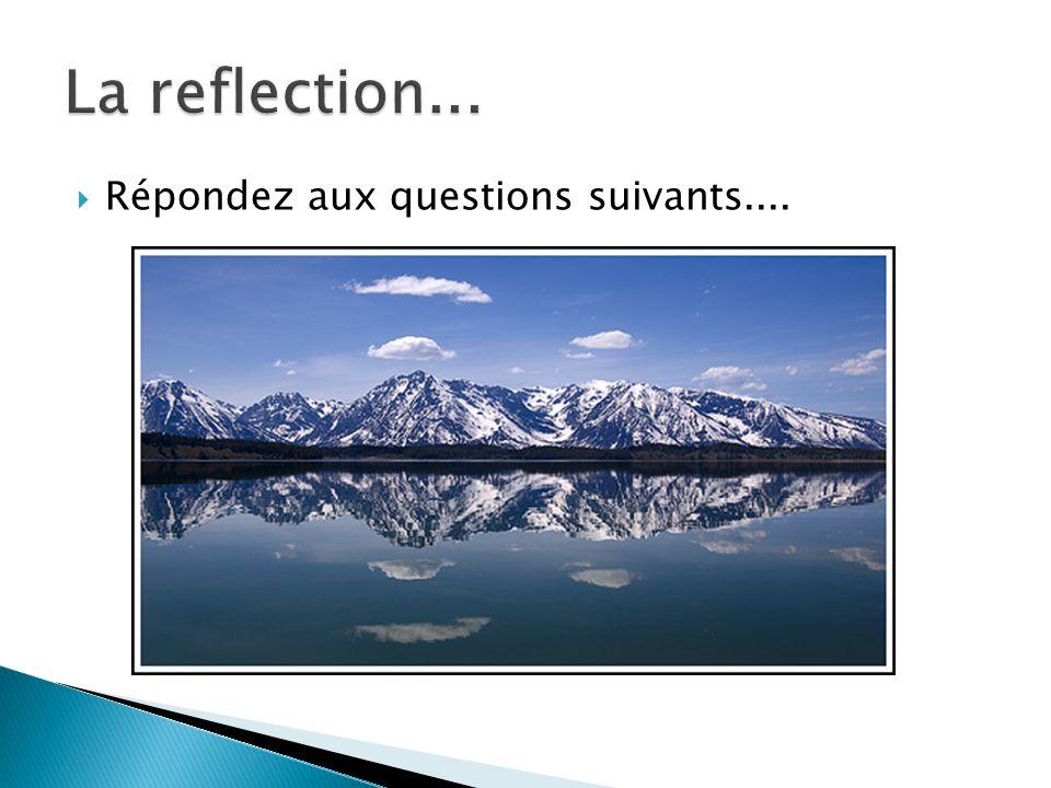 La reflection... Répondez aux questions suivants....