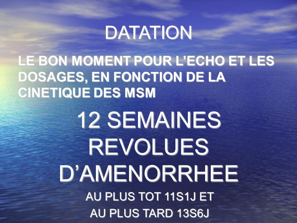 12 SEMAINES REVOLUES D'AMENORRHEE