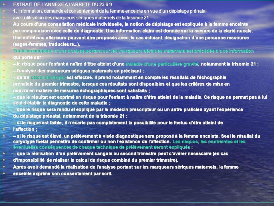 EXTRAIT DE L'ANNEXE A L'ARRETE DU 23 6 9