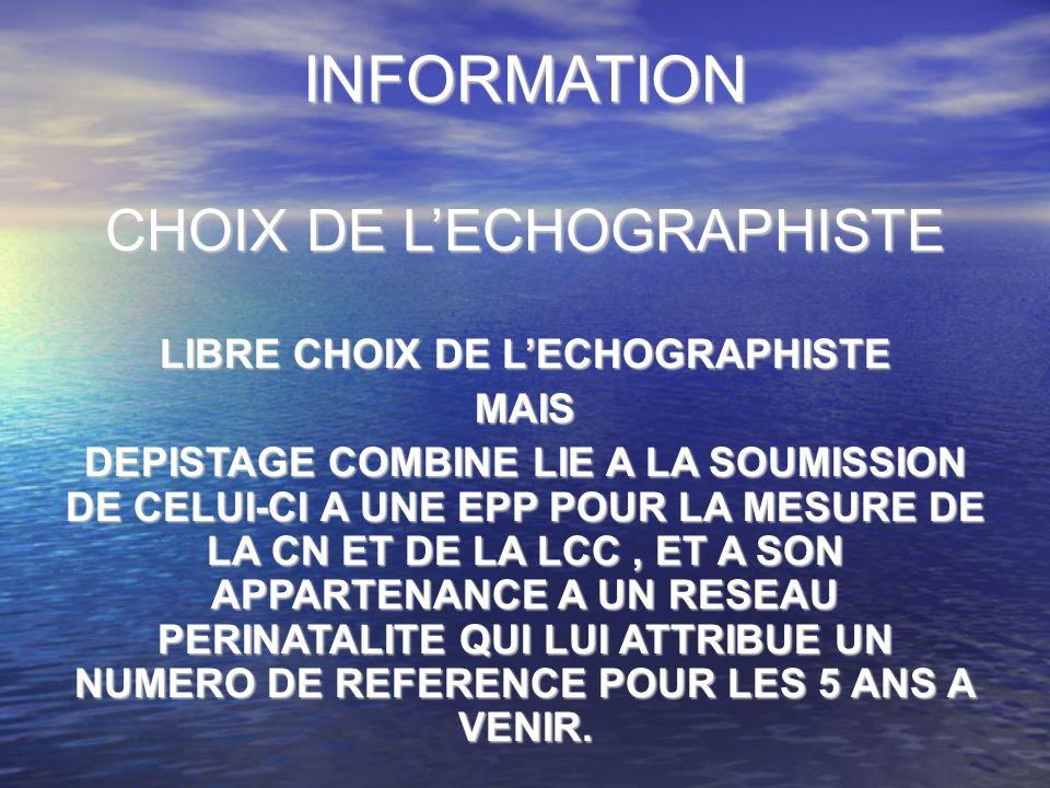 LIBRE CHOIX DE L'ECHOGRAPHISTE