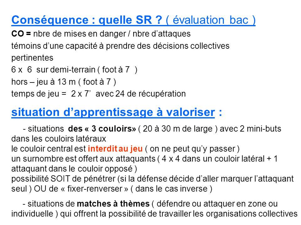 Conséquence : quelle SR ( évaluation bac )