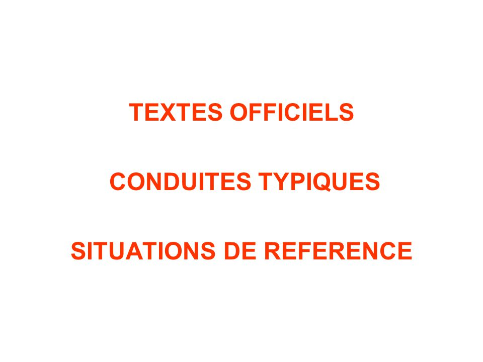 SITUATIONS DE REFERENCE