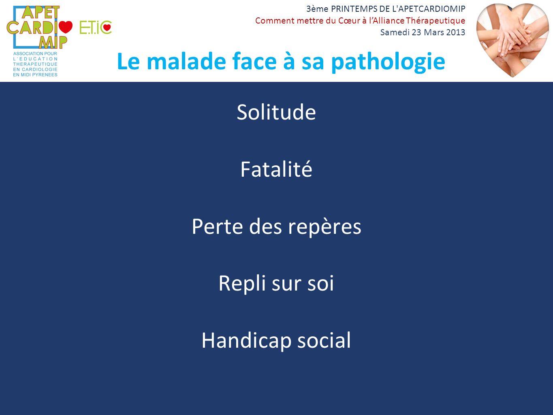 Le malade face à sa pathologie