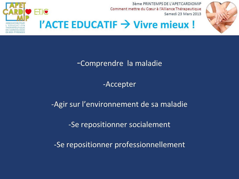 l'ACTE EDUCATIF  Vivre mieux !