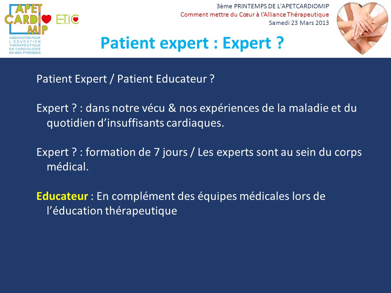 Patient expert : Expert