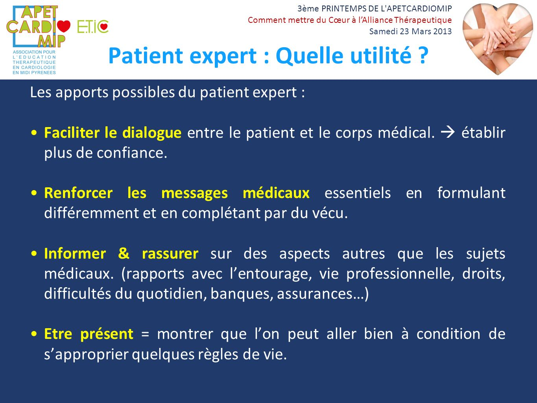 Patient expert : Quelle utilité