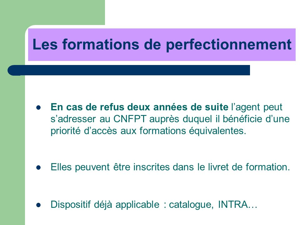 Les formations de perfectionnement