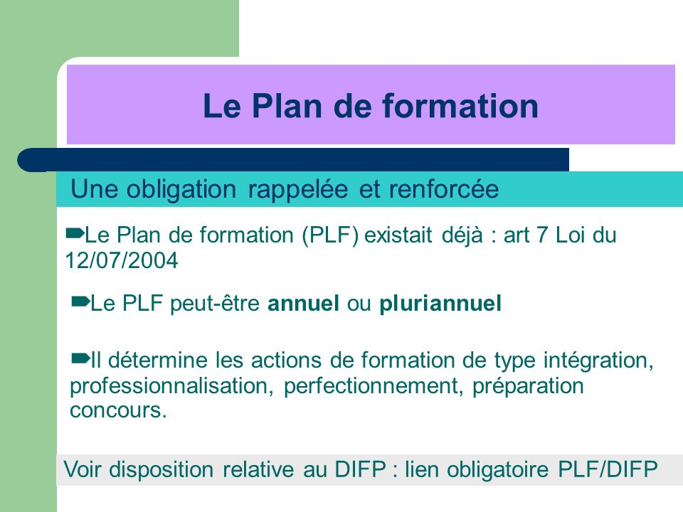 Le Plan de formation Une obligation rappelée et renforcée
